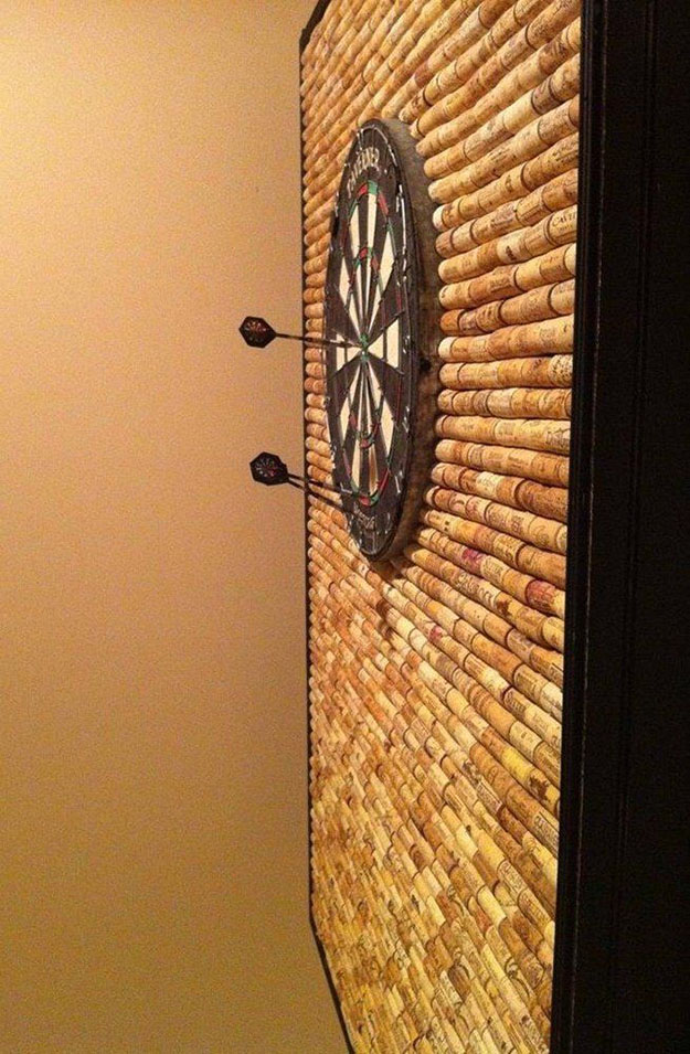 Fun Wine Cork Crafts for Kids to Make - Wine Cork DIY Dart Board Wall - DIY Projects & Crafts by DIY JOY #crafts