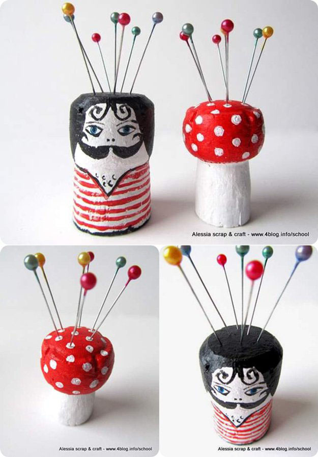 Easy Wine Cork Crafts & Fun DIY Art Ideas - Wine Cork DIY Pincushions - DIY Projects & Crafts by DIY JOY at http://diyjoy.com/diy-wine-cork-crafts-craft-ideas