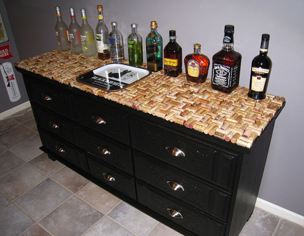 DIY Wine Cork Crafts & Homemade Bar Decor - Wine Cork Dresser Top Bar - DIY Projects & Crafts by DIY JOY at http://diyjoy.com/diy-wine-cork-crafts-craft-ideas