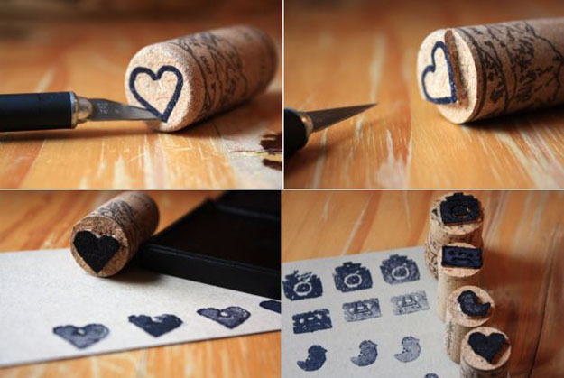 Easy Wine Cork Crafts for Kids to Make - Wine Cork DIY Stamps - DIY Projects & Crafts by DIY JOY