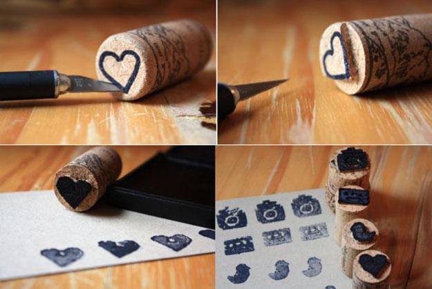 Easy Wine Cork Crafts for Kids to Make - Wine Cork DIY Stamps - DIY Projects & Crafts by DIY JOY