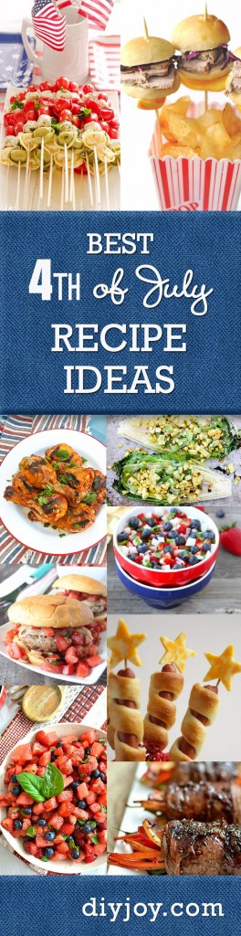 Best 4th of July Recipe Ideas Ever! Fun Food for the Fourth and DIY Party Food at http://diyjoy.com/best-4th-of-july-recipes-ideas