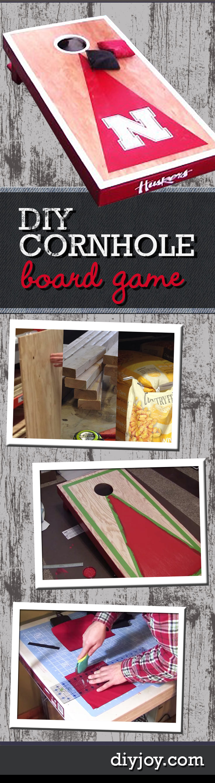 Fun Outdoor DIY Ideas - DIY Cornhole Board Game Tutorial - How to Make Cornhole Boards - DIY Christmas Gifts for Him, Men, Boyfriend Presents
