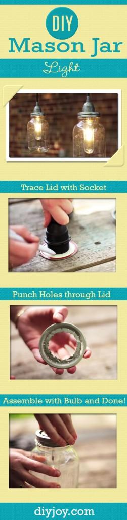 DIY Mason Jar Light Tutorial | Easy DIY Home Decor Ideas at http://diyjoy.com/mason-jar-lights-diy-lighting