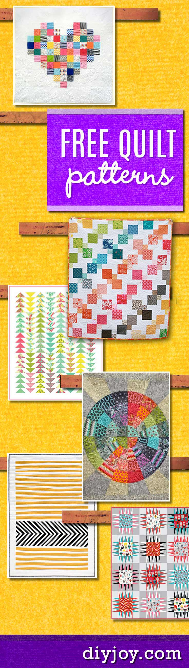 Free Quilt Patterns - Downloadable Free Quilting Pattern Ideas and Tutorials for DIY Quilts - Creative Crafts DIY Home Decor and Sewing Projects