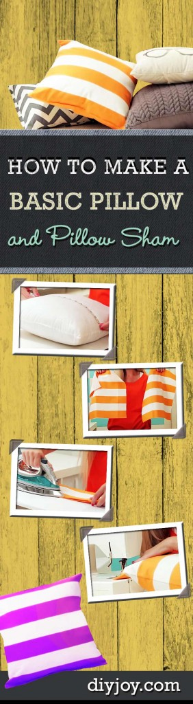 How to Make A Pillow Sham - Sewing Tutorials for Beginners and Easy DIY Projects at http://diyjoy.com/easy-sewing-projects-how-to-make-a-pillow