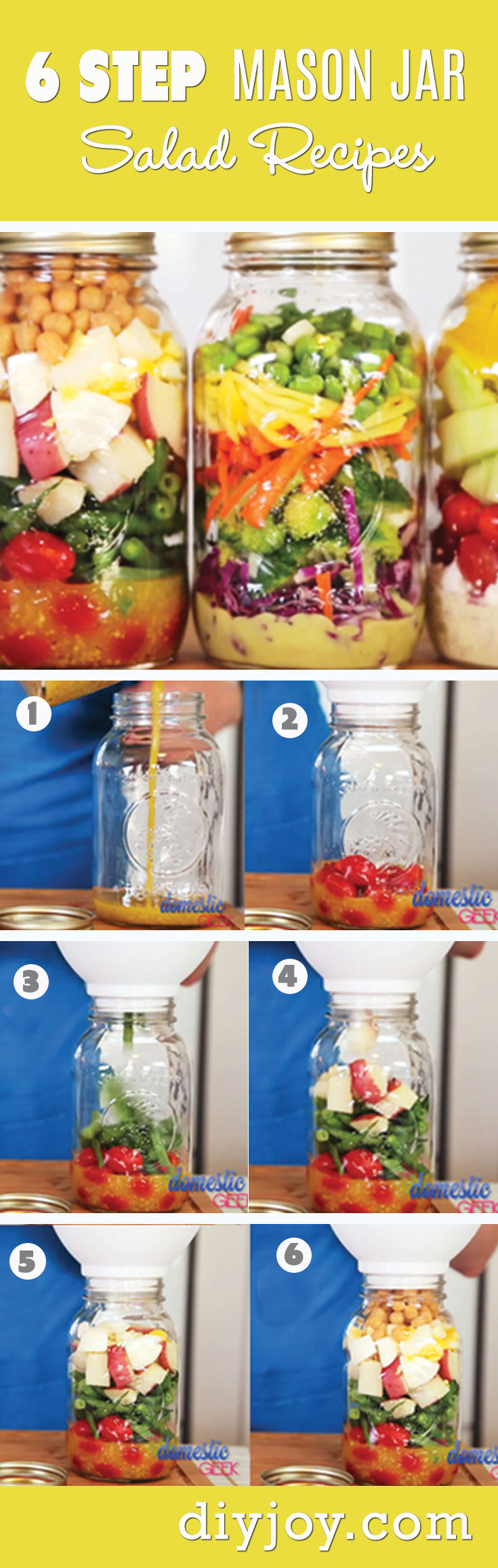 Mason Jar Salad Recipes - Recipes in A Jar and Easy Lunch Ideas at http://diyjoy.com/mason-jar-salad-recipes-in-a-jar