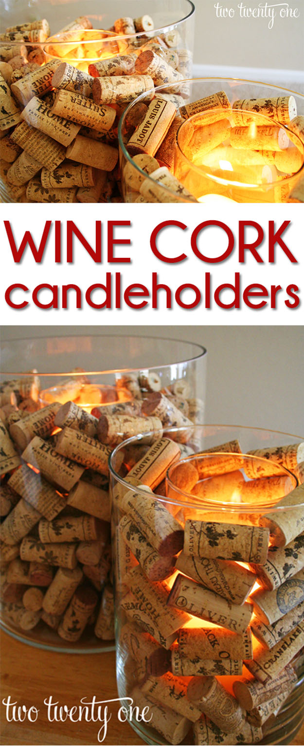 Easy Wine Cork DIY Candle Ideas - DIY Wine Cork Candle Holder - DIY Projects & Crafts by DIY JOY at http://diyjoy.com/diy-wine-cork-crafts-craft-ideas