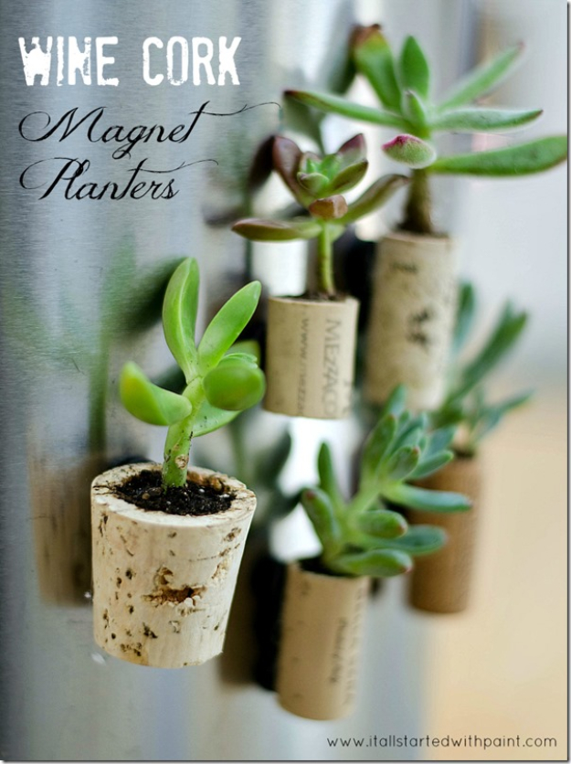 Easy Wine Crafts for Kids to Make - DIY Wine Cork Magnet Planters - DIY Projects & Crafts by DIY JOY #crafts