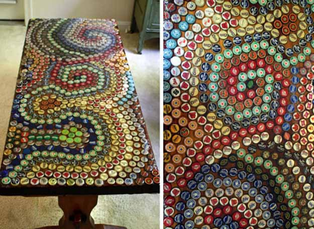 Cheap DIY Furniture Ideas | Upcycling Projects with Old Bottlecaps | DIY Coffee Table Makeover | DIY Projects and Crafts by DIY JOY at http://diyjoy.com/diy-home-decor-coffee-table-ideas