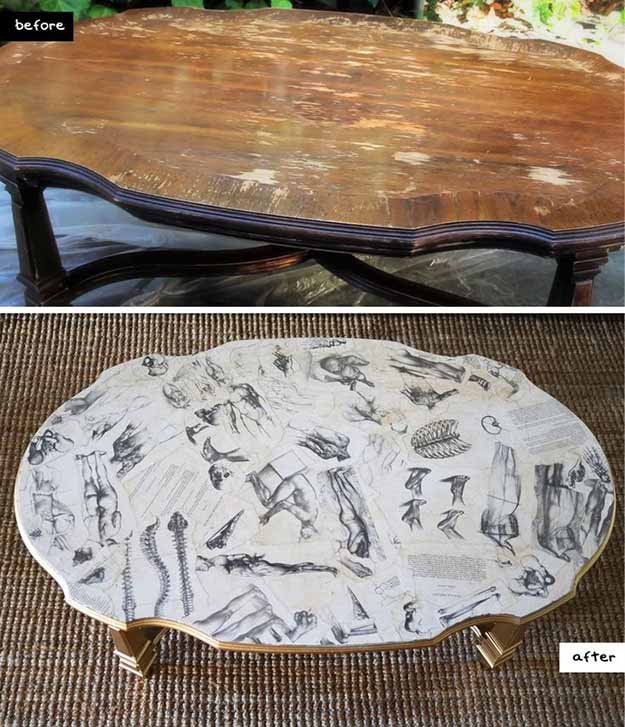 diy rustic home decor ideas easy decoupage furniture projects diy coffee table makeover