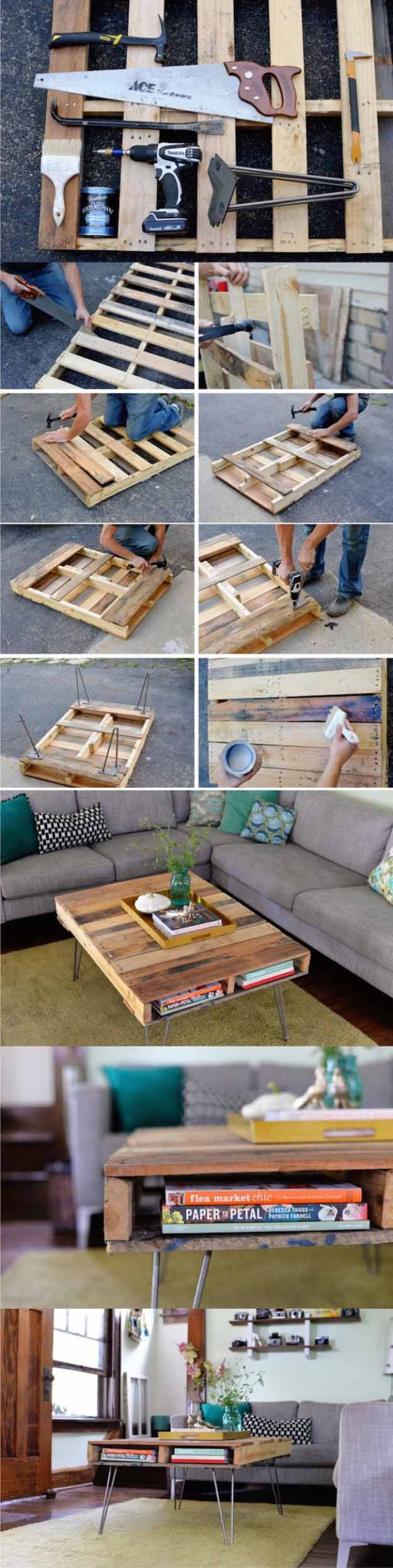 16 diy coffee table projects diy joy - Idee deco avec palette ...