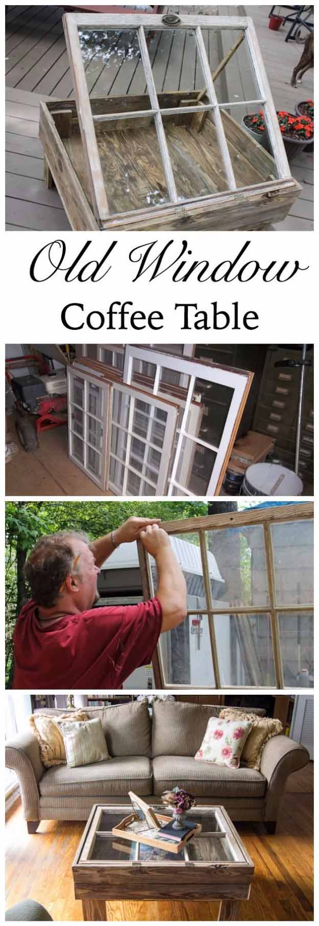 easy diy furniture ideas upcycling projects with old windows diy rustic coffee table ideas