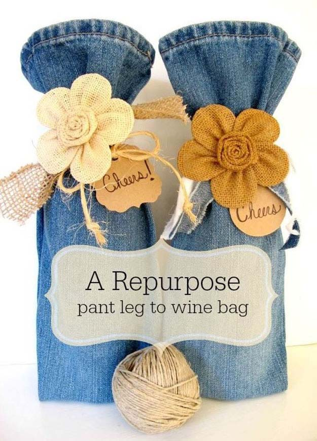 DIY Gift Ideas   Upcycling Projects with Old Jeans   DIY Wine Bag   DIY Projects & Crafts by DIY JOY #sewingideas #denim #upcycling