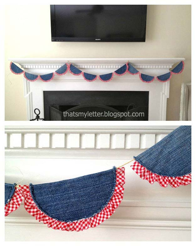 Easy Sewing Ideas for the Home   DIY Country Home Decor   DIY Bunting from Old Jeans   DIY Projects & Crafts by DIY JOY #sewingideas #denim #upcycling