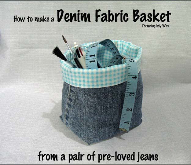 DIY Organization Ideas for Crafts | Easy Sewing Project | DIY Fabric Basket from Old Jeans | DIY Projects & Crafts by DIY JOY #sewingideas #denim #upcycling