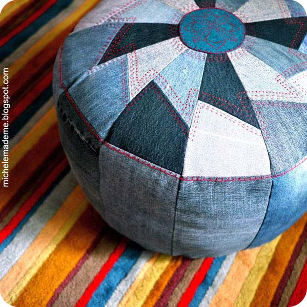 Easy Sewing Ideas | Upcycling DIY Projects with Old Jeans | DIY Pouf from Old Jeans | DIY Projects & Crafts by DIY JOY at http://diyjoy.com/upcycled-diy-projects-from-old-jeans