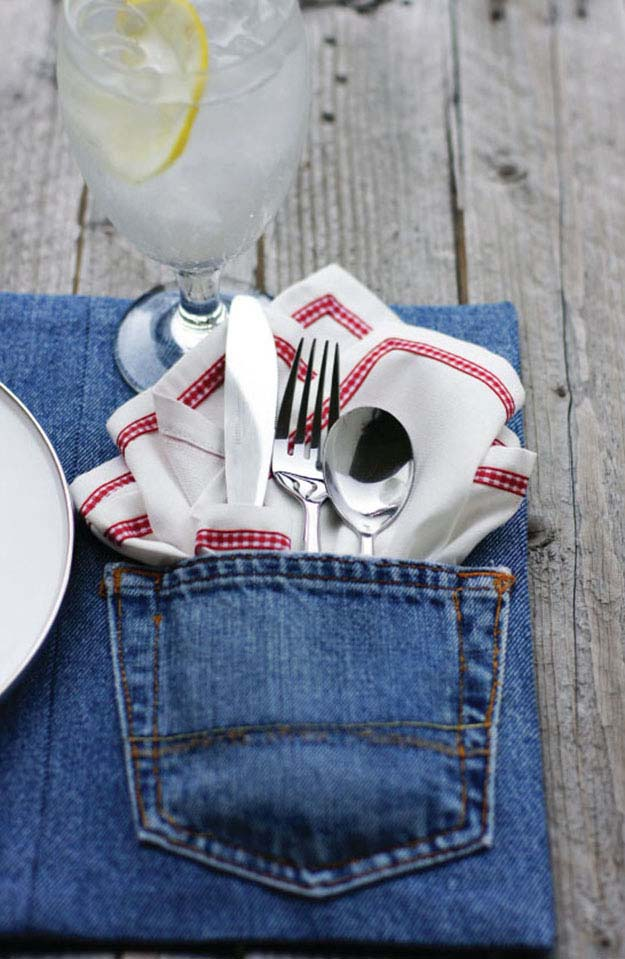 Easy Sewing Pattern for Beginners   Repurposed Old Jeans DIY Ideas   DIY Denim Placemat Upcycling Idea   DIY Projects & Crafts by DIY JOY at http://diyjoy.com/upcycled-diy-projects-from-old-jeans