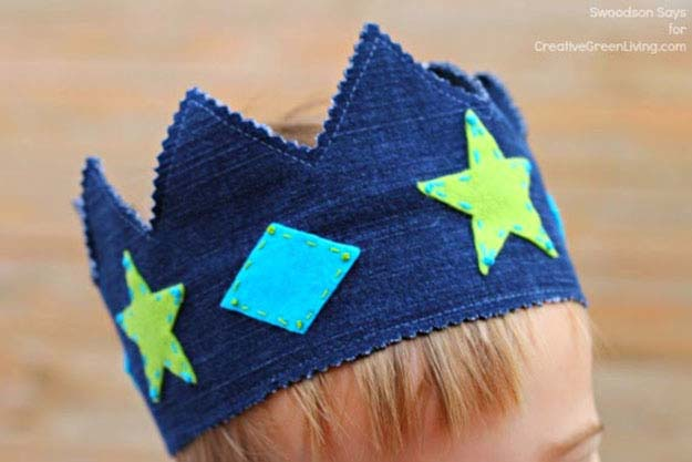 Sewing Crafts for Kids   Easy Sewing Project with Upcycled Jeans   Kids Play Crown   DIY Projects & Crafts by DIY JOY #sewingideas #denim #upcycling