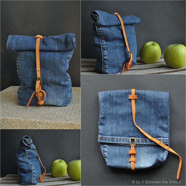 DIY Projects with Repurposed Old Jeans   Easy Sewing Pattern & Tutorial   Denim DIY Lunch Bag   DIY Projects & Crafts by DIY JOY #sewingideas #denim #upcycling