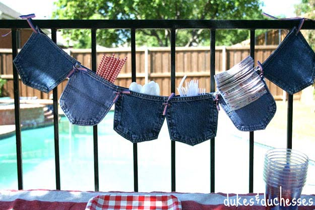 Easy DIY Party Ideas   Upcyclng Ideas for Old Jeans   DIY Garland for Entertaining   DIY Projects & Crafts by DIY JOY #sewingideas #denim #upcycling