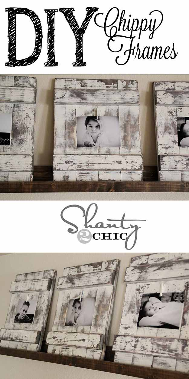 Rustic Home Decor | DIY Picture Frames at http://diyjoy.com/craft-ideas-diy-picture-frames