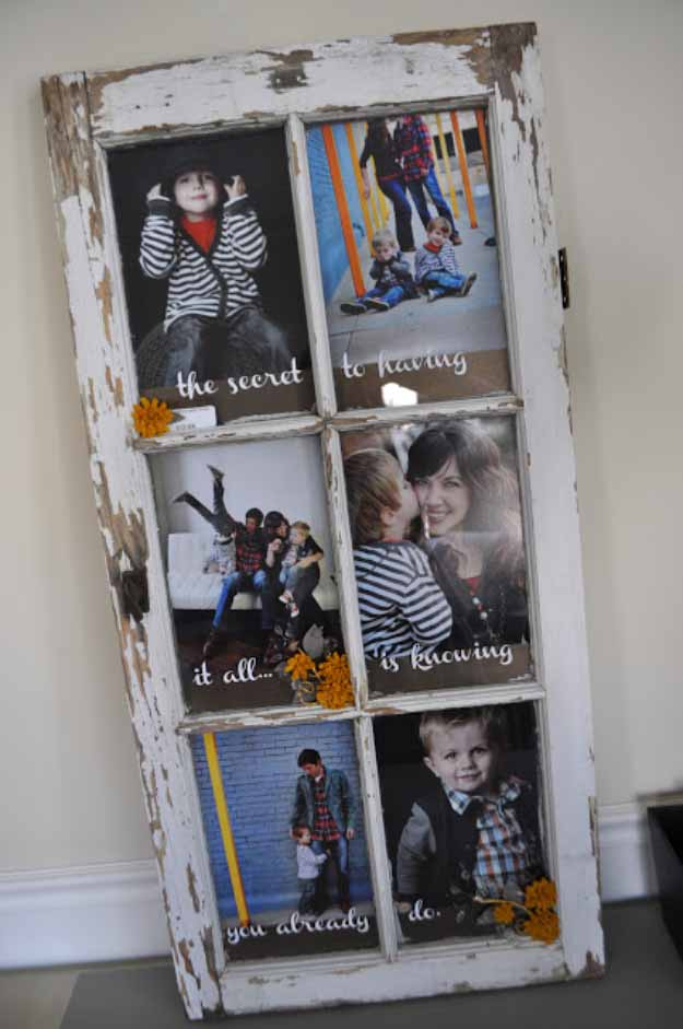 Easy Upcycling Projects | Old Window Picture Frame #diy #crafts