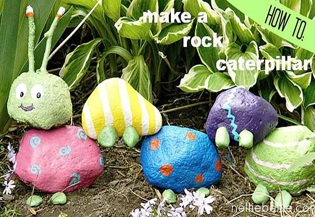 DIY Outdoors Kids Crafts - Fun Garden Art Ideas - DIY Rock Caterpillar - DIY Projects & Crafts by DIY JOY at http://diyjoy.com/fun-outdoor-crafts-for-kids