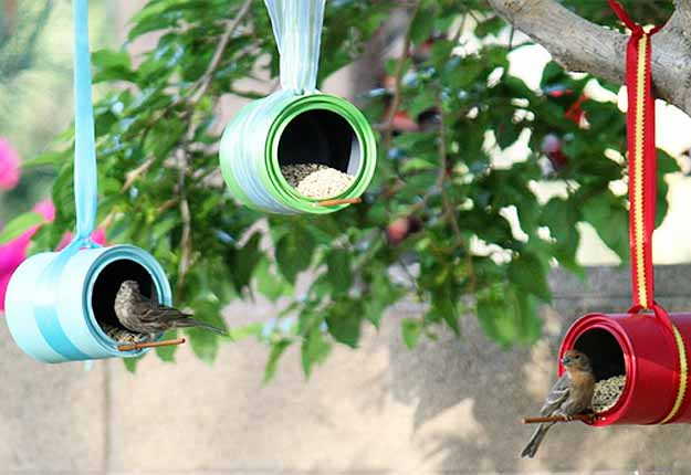 DIY Kids Outdoors Art Projects - Upcycled DIY Birdhouse from Tin Cans - DIY Projects & Crafts by DIY JOY at http://diyjoy.com/fun-outdoor-crafts-for-kids