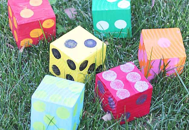 DIY Outdoors Ideas and Games - DIY Yard Yahtzee at http://diyjoy.com/fun-outdoor-crafts-for-kids