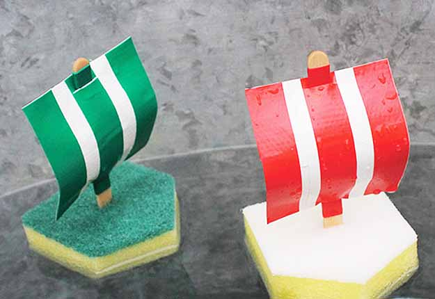 DIY Outdoor Projects for Kids and Fun Water Activities- Do It Yourself Sponge Boats at http://diyjoy.com/fun-outdoor-crafts-for-kids
