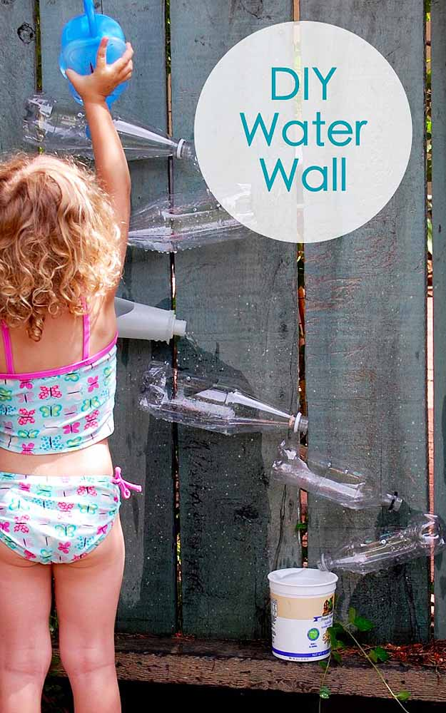 Outdoors DIY Play Area For Kids - DIY Water Activities Wall - DIY Projects & Crafts by DIY JOY at http://diyjoy.com/fun-outdoor-crafts-for-kids