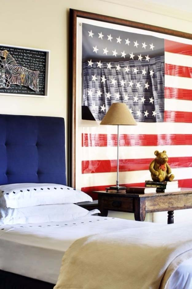 Rustic DIY Ideas With the American Flag | Patriotic Flag Country Crafts and  DIY Projects for the Home and Backyard | American Flag Hanging as a Headboard | http://diyjoy.com/diy-projects-decor-american-flag