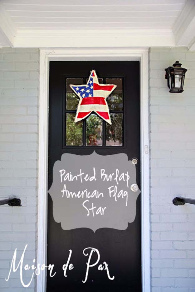 Rustic DIY Ideas With the American Flag | Patriotic Flag Country Crafts and  DIY Projects for the Home and Backyard | American Flag Painted DIY Burlap Star | http://diyjoy.com/diy-projects-decor-american-flag