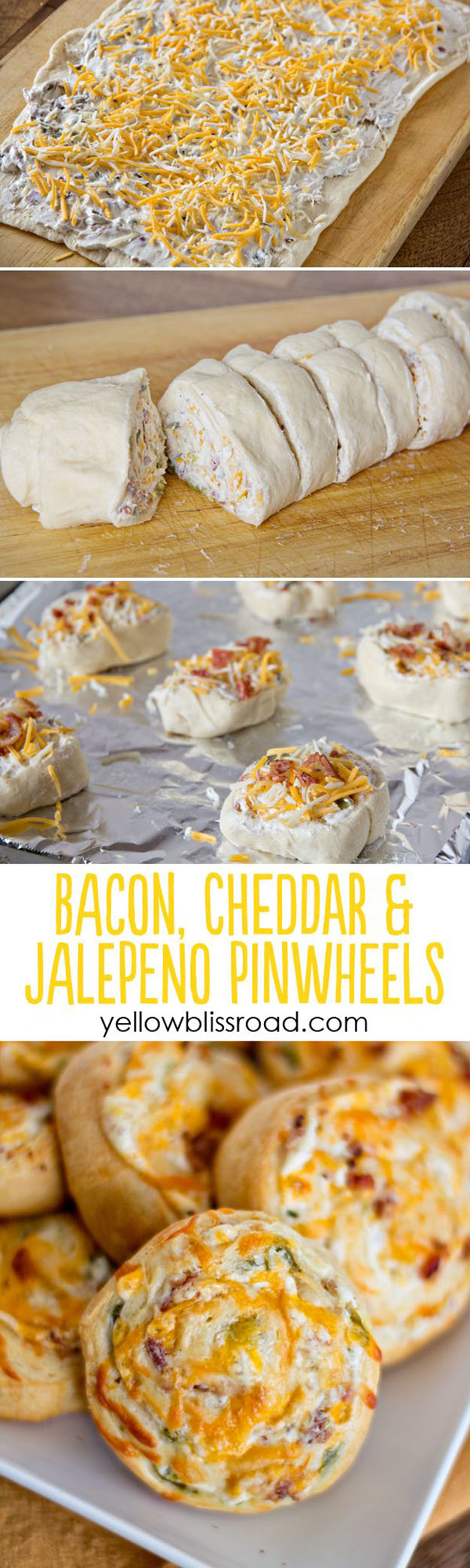 Cheap Party Food Ideas |Easy DIY Recipe for Bacon & Cheese Pinwheels | DIY Projects and Crafts by DIY JOY #appetizers #partyfood #recipes