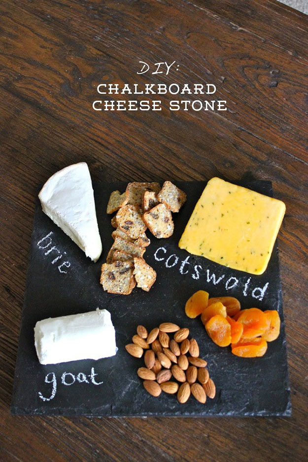 Unique DIY Gifts   Easy Kitchen Crafts   DIY Chalkboard Cheese Board Plate   DIY Projects & Crafts by DIY JOY