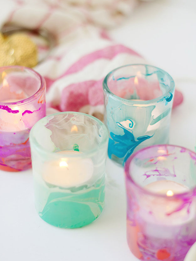 Easy DIY Gifts | Cool Crafts for Teens | Marbled DIY Candle Votives | DIY Projects & Crafts by DIY JOY at http://diyjoy.com/cheap-diy-gifts-ideas