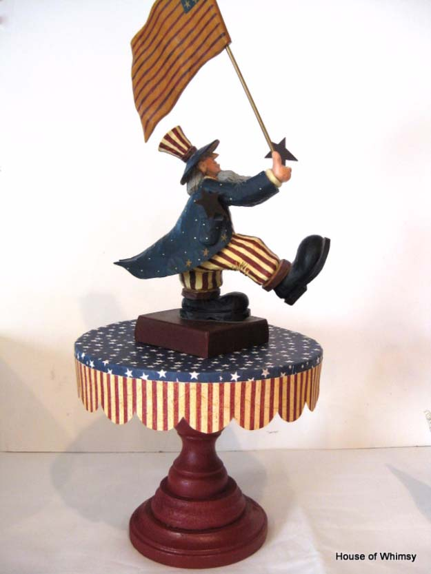 Rustic DIY Ideas With the American Flag | Patriotic Flag Country Crafts and  DIY Projects for the Home and Backyard | Flag Inspired DIY Cake Stand | http://diyjoy.com/diy-projects-decor-american-flag