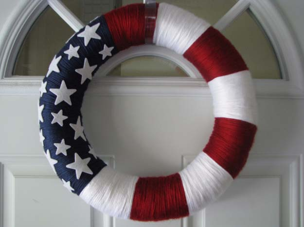 Rustic DIY Ideas With the American Flag | Patriotic Flag Country Crafts and  DIY Projects for the Home and Backyard | Flag Inspired DIY Yarn Wreath | http://diyjoy.com/diy-projects-decor-american-flag