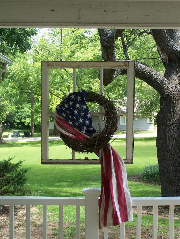 Rustic DIY Ideas With the American Flag | Patriotic Flag Country Crafts and  DIY Projects for the Home and Backyard | Flag Wrapped Wreath in Old Window | http://diyjoy.com/diy-projects-decor-american-flag