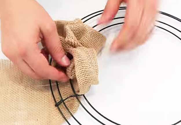 DIY Crafts for the Home | Easy Rustic DIY Home Decor | How to Make a Burlap Wreath Tutorial | DIY Projects & Crafts by DIY JOY at http://diyjoy.com/diy-home-decor-how-to-make-a-burlap-wreath