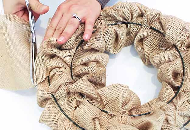 Cheap DIY Crafts for the Home | DIY Rustic Home Decor Ideas | How to Make a Burlap Wreath Tutorial | DIY Projects & Crafts by DIY JOY at http://diyjoy.com/diy-home-decor-how-to-make-a-burlap-wreath