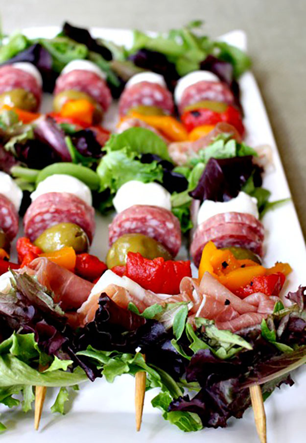 Healthy Party Food Ideas | Antipasto on a Stick | DIY Projects & Crafts by DIY JOY #appetizers #partyfood #recipes