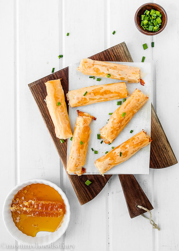 Easy Party Food Ideas | 5 Ingredient DIY Recipe for Cheesy Phyllo Rolls | DIY Projects and Crafts by DIY JOY #appetizers #partyfood #recipes