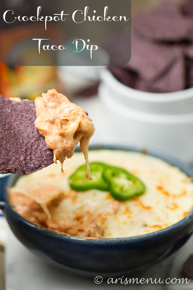 DIY Party Food Ideas | Easy Crockpot Recipes | Chicken Taco Dip in a Slow Cooker Recipe | DIY Projects and Crafts by DIY JOY at http://diyjoy.com/best-diy-party-food-ideas