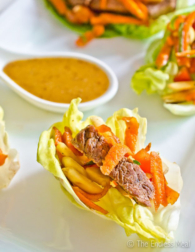 Healthy Party Food Ideas | Steak Salad Mini Lettuce Wraps | DIY Projects and Crafts by DIY JOY #appetizers #partyfood #recipes