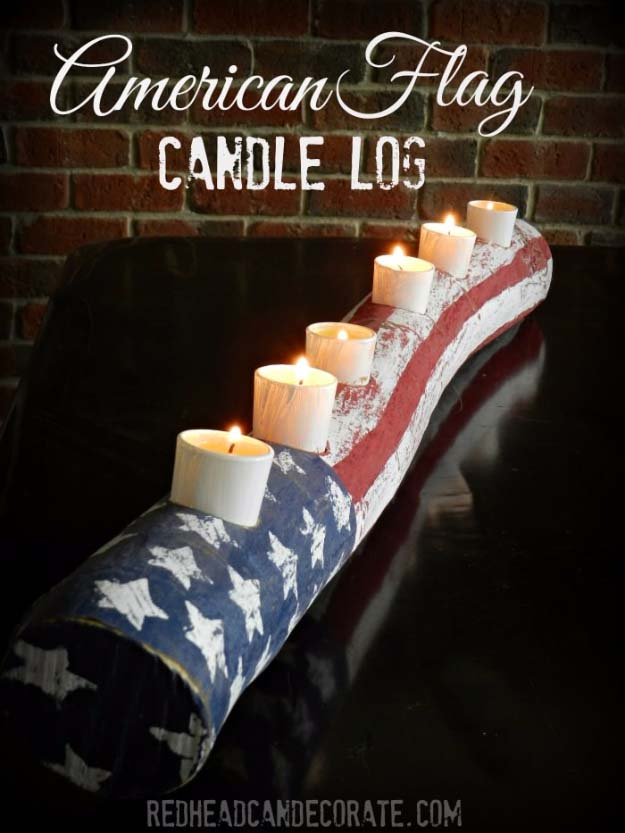 Rustic DIY Ideas With the American Flag | Patriotic Flag Country Crafts and  DIY Projects for the Home and Backyard | Patriotic DIY Candle Holder Log | http://diyjoy.com/diy-projects-decor-american-flag
