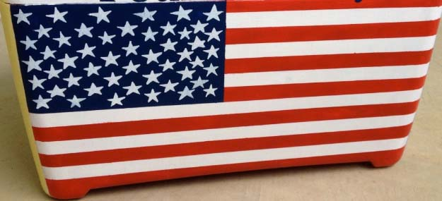 Rustic DIY Ideas With the American Flag | Patriotic Flag Country Crafts and  DIY Projects for the Home and Backyard | Patriotic Painted Cooler Cover | http://diyjoy.com/diy-projects-decor-american-flag