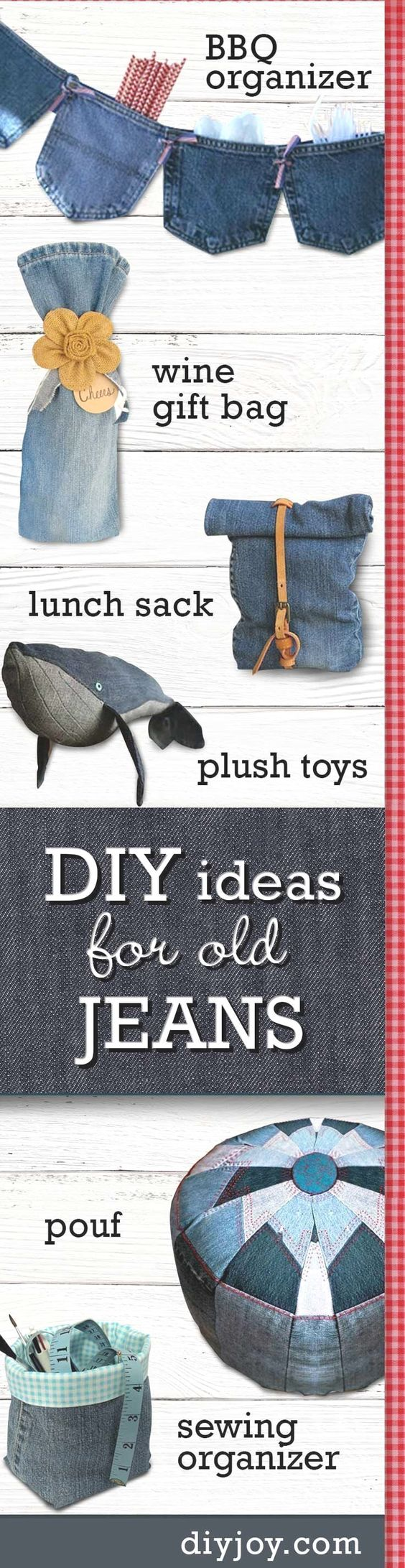 Denim Crafts for Olds Jeans - DIY Ideas With Denim - Sewing Projects and No sew Ideas