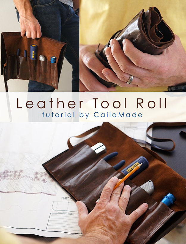 Easy DIY Gifts for Men | Leather Crafts for Guys | DIY Leather Tool Roll | DIY Projects & Crafts by DIY JOY at http://diyjoy.com/cheap-diy-gifts-ideas